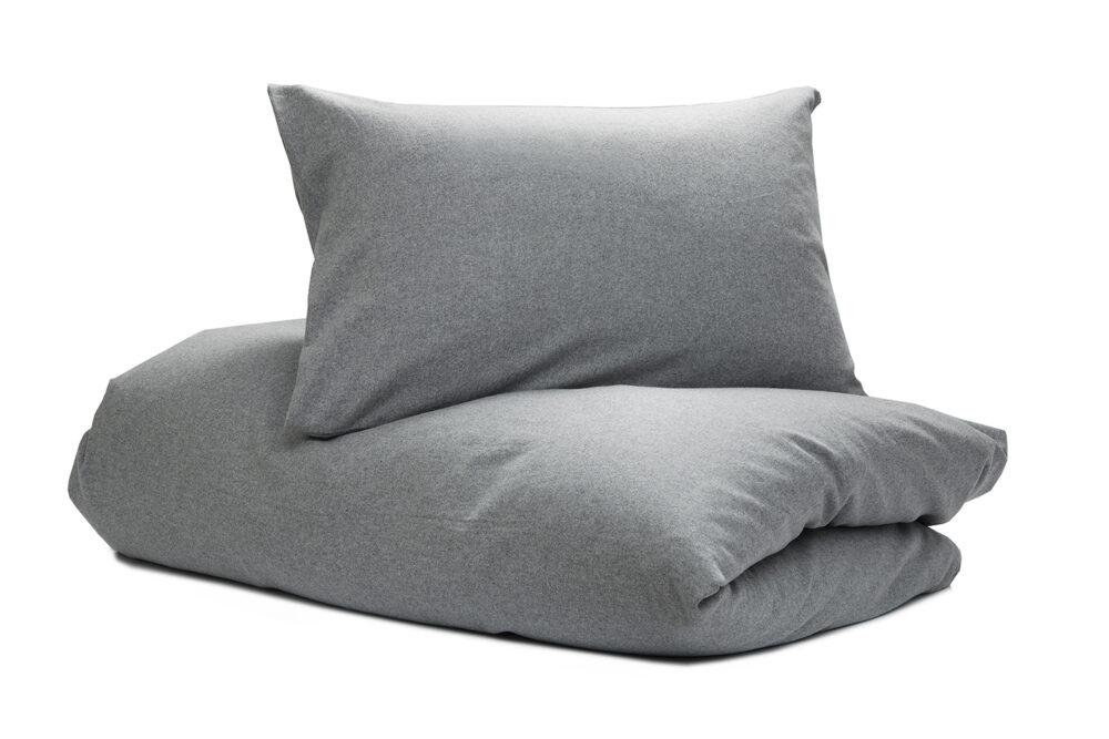 Nord sengetøy sengesett kvalitet flanell vevet myk lun norsk design ensfarget grå