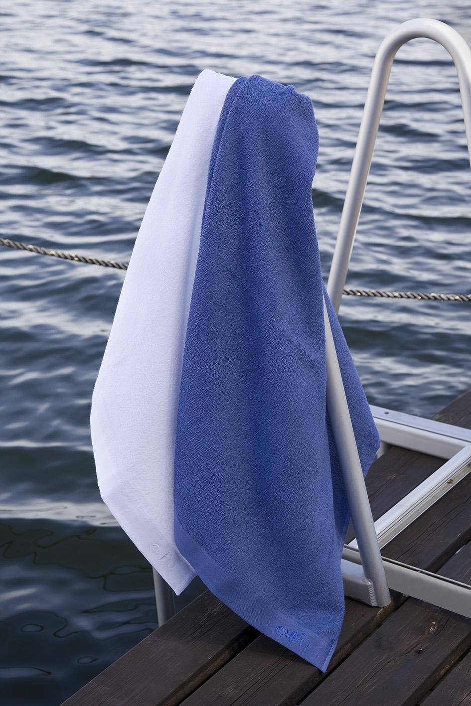Nord håndklær kvalitet ultratynne sport fritid økologisk bomull hvit og blå