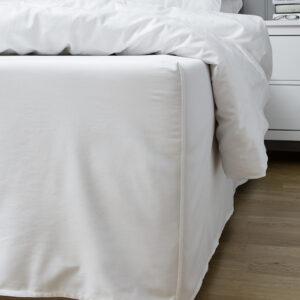 Nord Sateng sengetøy sengekappe kappelaken nesten sømløs kvalitet klassisk norsk design hvit